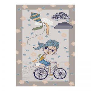 فرش کودک دخترک دوچرخه سوار