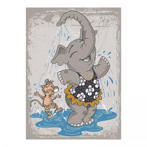 فرش کودک طرح فیل و موش بازیگوش