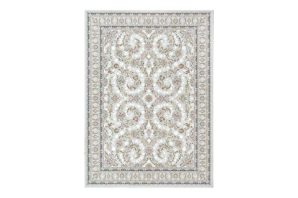 فرش گل برجسته طرح افشان رنگ نقره ای