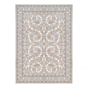 فرش گل برجسته طرح افشان رنگ بژ