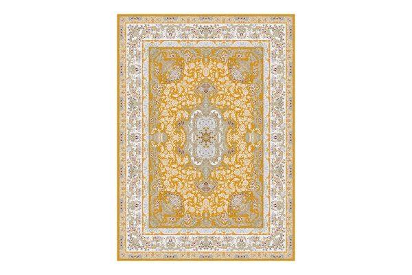 فرش گل برجسته طرح آلیس رنگ زرد