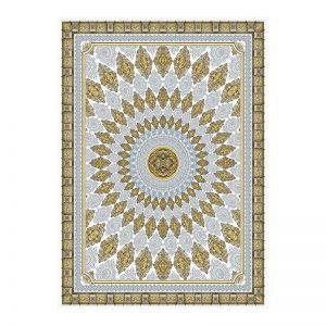 فرش گل برجسته 1500 شانه طرح آترین رنگ کرمی