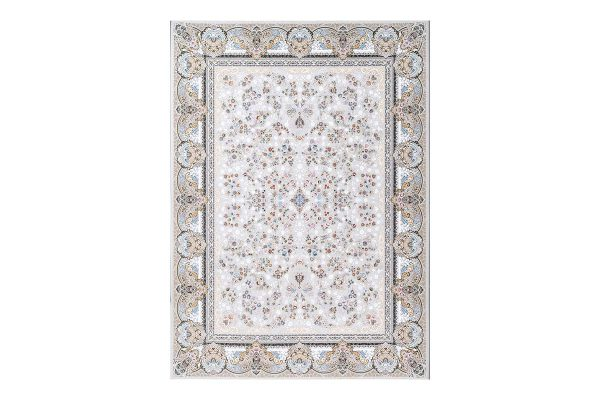 فرش گل برجسته 1500 شانه طرح کائنات رنگ الماسی