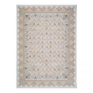 فرش گل برجسته 1500 شانه طرح خشتی رنگ الماسی