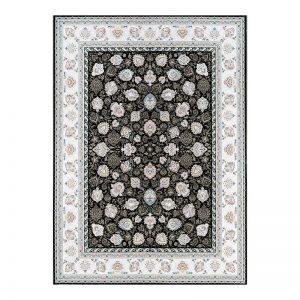 فرش گل برجسته 1500 شانه طرح ماندگار رنگ ذغالی