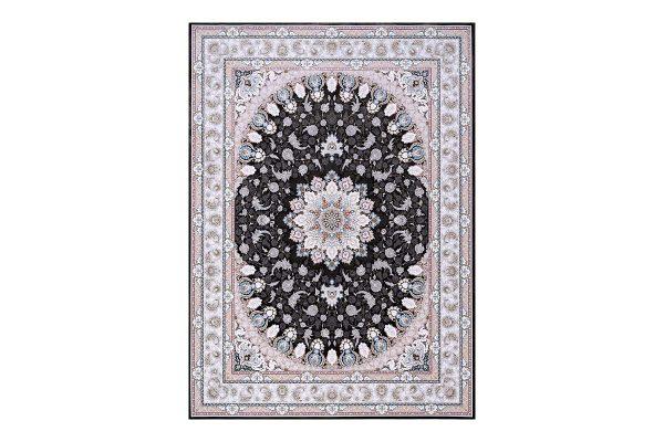 فرش گل برجسته 1500 شانه طرح نایین رنگ دودی