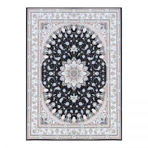 فرش گل برجسته 1500 شانه طرح نایین رنگ سرمه ای