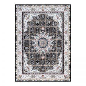 فرش گل برجسته 1500 شانه طرح نازنین رنگ ذغالی