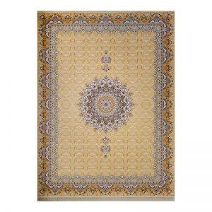 فرش گل برجسته طرح پاسارگاد رنگ زرد