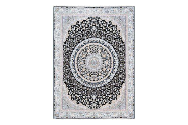فرش گل برجسته 1500 شانه طرح دیانا رنگ سرمه ای