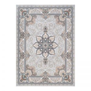 فرش گل برجسته 1500 شانه طرح شادمهر رنگ الماسی