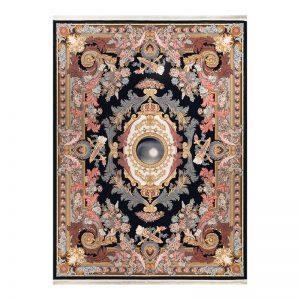 فرش گل برجسته 1500 شانه طرح آدلاید رنگ سرمه ای