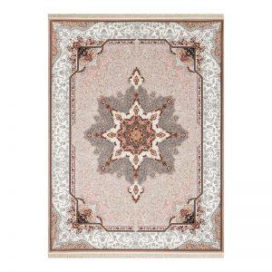 فرش گل برجسته طرح آفاق رنگ فیلی