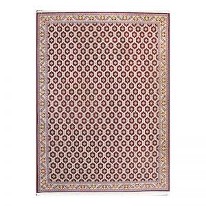 فرش گل برجسته آیسان رنگ لاکی