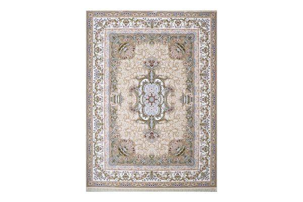 فرش گل برجسته طرح آلیس رنگ بژ