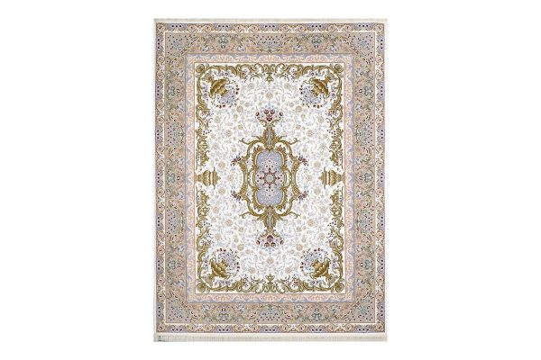 فرش گل برجسته طرح آلیس رنگ کرم