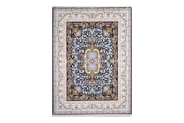 فرش گل برجسته طرح آلیس رنگ ذغالی