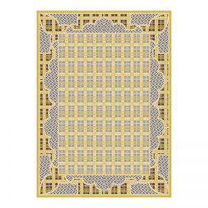 فرش گل برجسته 1500 شانه طرح آنجلس رنگ زرد