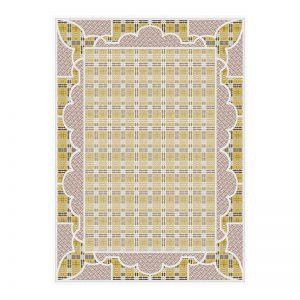 فرش گل برجسته 1500 شانه طرح آنجلس رنگ کرمی