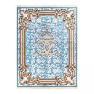 فرش گل برجسته 1500 شانه طرح چنل رنگ آبی