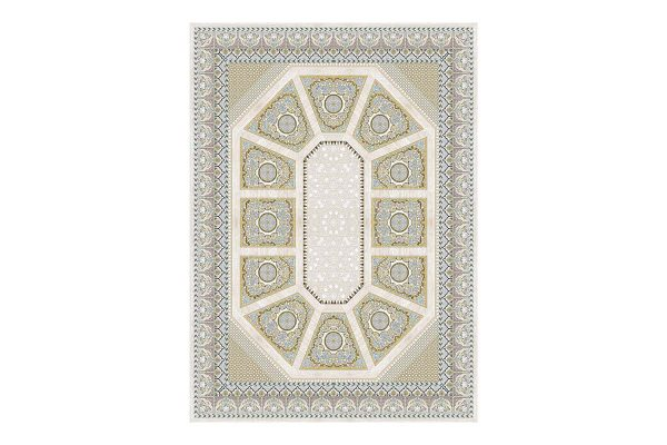 فرش گل برجسته 1500 شانه طرح کریستال رنگ کرمی