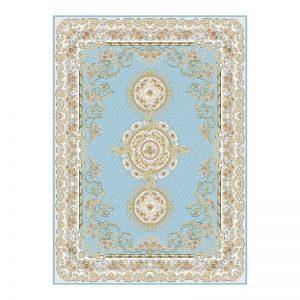 فرش گل برجسته 1500 شانه طرح فرانسوی رنگ آبی