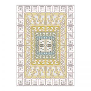 فرش گل برجسته 1500 شانه طرح فندی رنگ الماسی