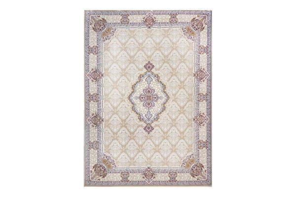 فرش گل برجسته طرح گلچین رنگ بژ