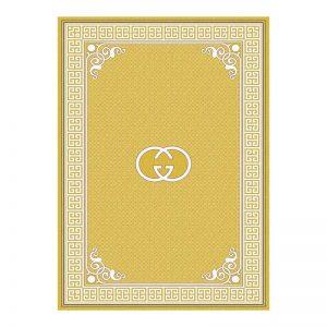 فرش گل برجسته 1500 شانه طرح  گوچی رنگ زرد