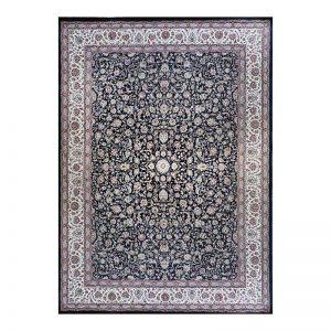 فرش گل برجسته کاشان رنگ زغالی