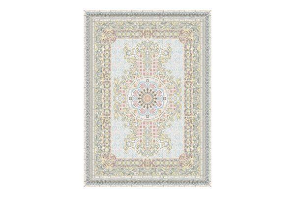 فرش گل برجسته 1500 شانه طرح کلارا رنگ بژ