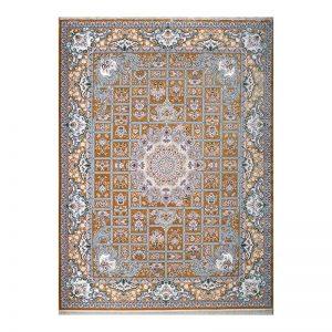 فرش1200 شانه گل برجسته طرح خشتی رنگ انبه ای