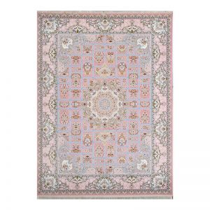 فرش1200 شانه گل برجسته طرح خشتی رنگ صورتی