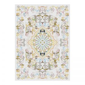 فرش گل برجسته 1500 شانه طرح  کوثر رنگ الماسی