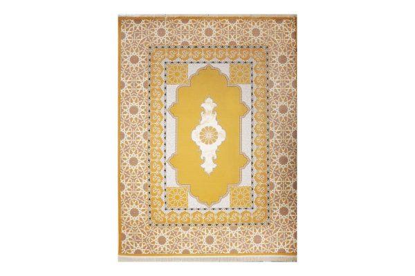 فرش گل برجسته طرح میرال رنگ زرد