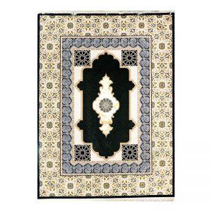 فرش گل برجسته طرح میرال رنگ مشکی