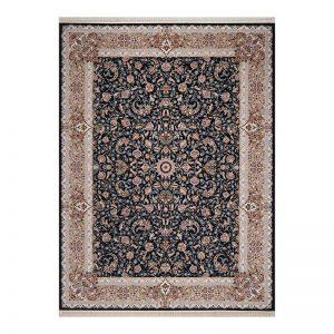 فرش گل برجسته طرح نجوا رنگ ذغالی