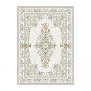 فرش گل برجسته 1500 شانه طرح نانسی رنگ کرمی
