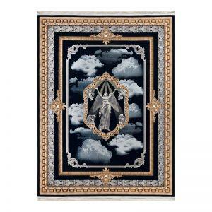 فرش گل برجسته 1500 شانه طرح  نیایش رنگ سرمه ای