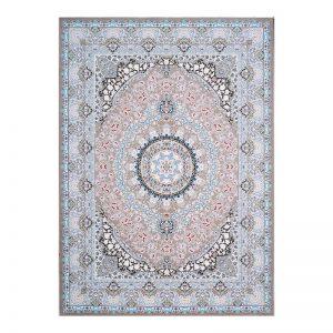 فرش گل برجسته 1500 شانه طرح نقره رنگ  بژ