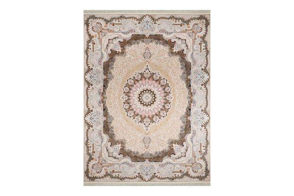 فرش گل برجسته 1500 شانه طرح پرنسا رنگ بژ