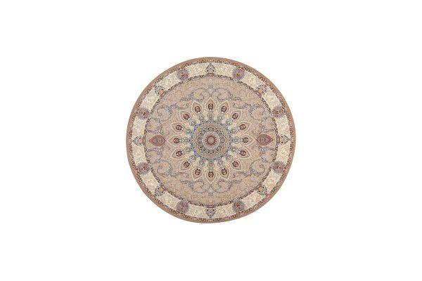 فرش گل برجسته رویا گرد رنگ بژ