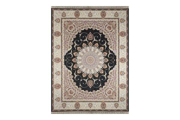 فرش گل برجسته طرح رویا رنگ ذغالی