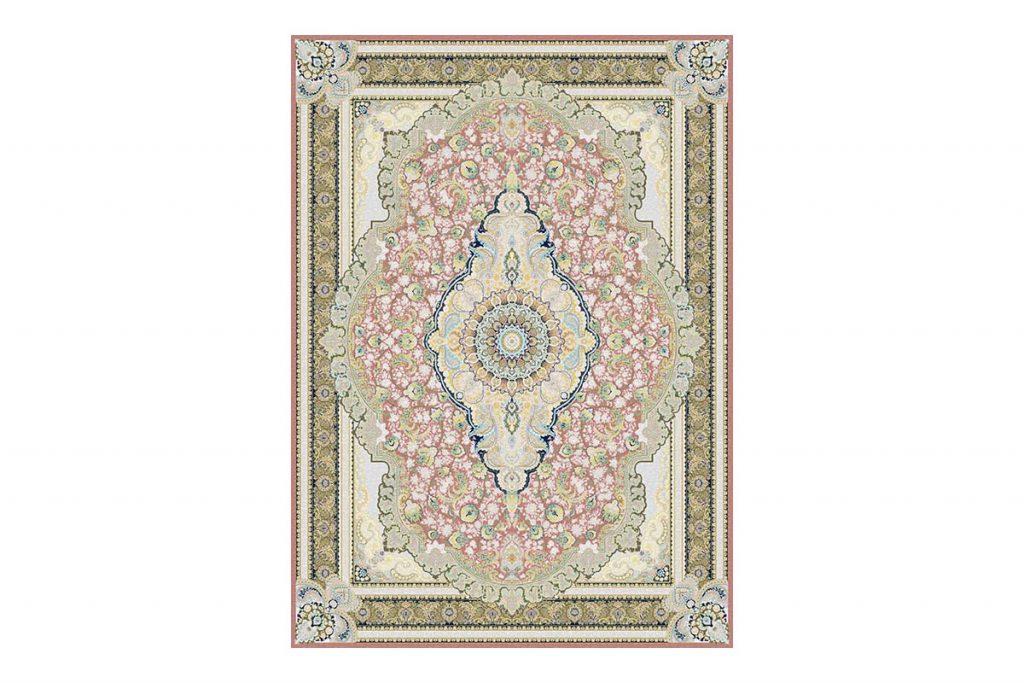 فرش گل برجسته 1500 شانه طرح رژینا رنگ گلبهی