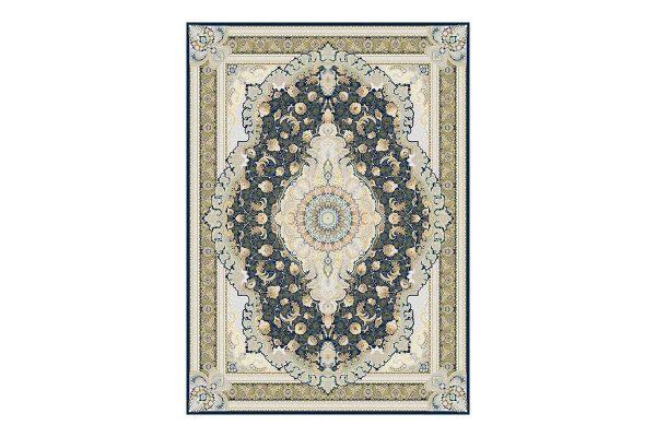 فرش گل برجسته 1500 شانه طرح رژینا رنگ سرمه ای