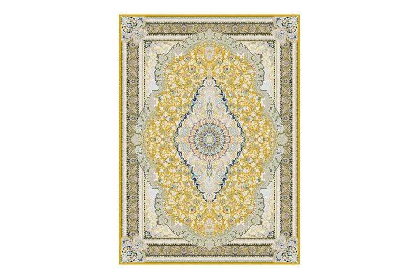 فرش گل برجسته 1500 شانه طرح رژینا رنگ زرد