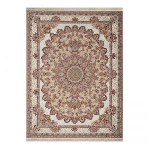 فرش گل برجسته طرح رزیتا رنگ بژ