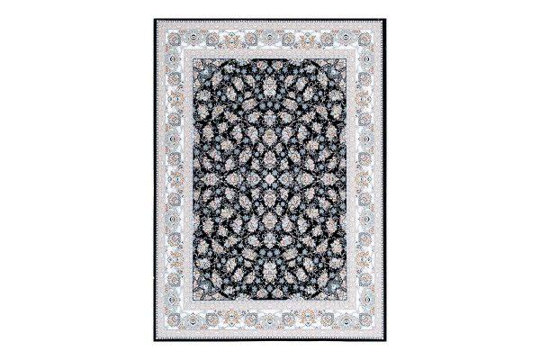 فرش گل برجسته 1500 شانه طرح سالار رنگ سرمه ای