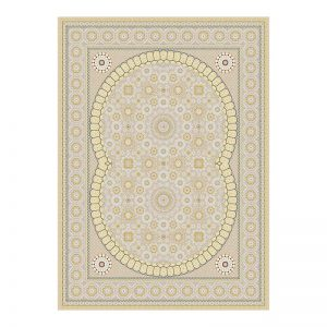 فرش گل برجسته 1500 شانه طرح سلما رنگ بژ