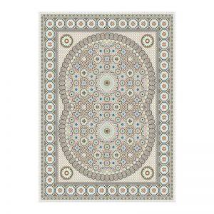 فرش گل برجسته 1500 شانه طرح سلما رنگ کرمی